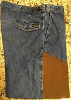 RATTLERS BRAND Snake Denim Pants with Built-In Chaps Excellent Pre-Owned Cond.