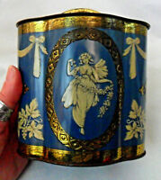 Vintage Murray Allen TIN BOX, Canister, England, Regal Crown, Petrol Blue