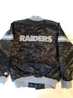 dccd90ef1bc NWT New THROWBACK RETRO OAKLAND RAIDERS STARTER SATIN BLACK JACKET M