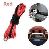1X 1/4'' x 50' Synthetic Winch Rope Cable Line for ATV UTV Off-road Red Wireless