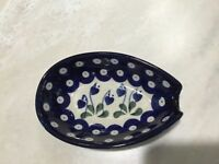 NEW C.A. POLISH POTTERY SPOON REST Bleeding Heart Pattern