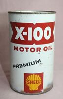 SHELL X-100 MOTOR OIL TIN/CAN PREMIUM SHELL OIL CANADA LIMITED 1 QUART  VINTAGE