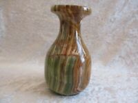 Green/Brown Solid Marbled/Onyx/Stone Bud Vase