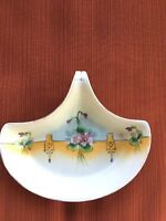 Lovely Vintage Nippon Trinket Dish with Open Handle, Florals/Gold Tone