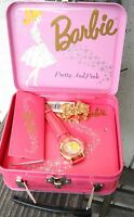 NEW BARBIE WRIST WATCH  , PINK LEATHER BAND IN TIN BOX MADE BY FOSSIL IN 1994