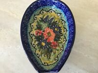 C.A. POLISH POTTERY SPOON REST Unikat Floral #4610 T. Liana NEW