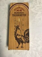 Vintage Tin Embossed Advertising Thermometer-Farmer's Almanac w/Rooster Avon New