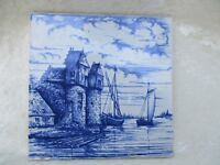 Vintage Delft OUD Blue and White Tower and Sailboat Scenery Pottery Tile