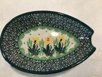 NEW C.A. POLISH POTTERY SPOON REST Yellow Flower