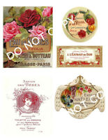 French Perfume Labels FH388: Set of Five; Beautiful Graphics