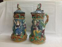 Minton Majolica Tower two 2 Jugs Pitchers with Pewter Lid