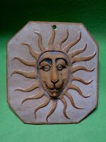 Art Studio pottery tile of a LION FACE with SUN RAYS MANE. Multi-dimensional