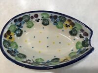 C.A. POLISH POTTERY SPOON REST Pansies NEW