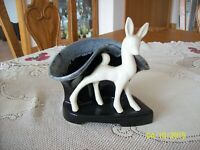 Shawnee Vintage Ceramic Deer Flower Planter With White Deer & Black Base