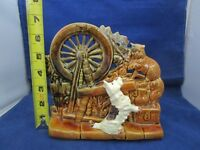 Vintage McCoy Pottery Planter with Spinning Wheel, Dog, and Cat     FS