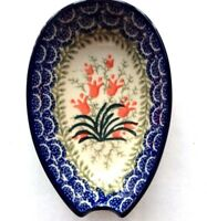 C.A. POLISH POTTERY SPOON REST Crimson Bells NEW