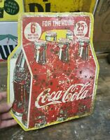 Vintage 1938 Coca Cola Coke 6 Pack Sign 6 for 25c Carton - Great Patina