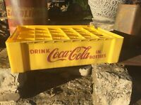 1960's Coke Crate Yellow 24 Pack Plastic