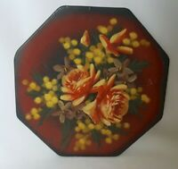 Vintage French pottery hand painted octagonal plate clay signed from Nice France