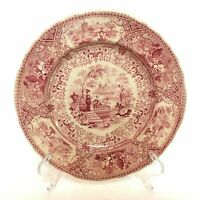 Rare Early 1800's Staffordshire Red Transferware Spanish Villa Plate