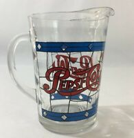 Pepsi Cola Pitcher Red Blue Clear Glass Vintage 1970's Original Tableware