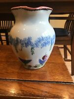 Judy Kruger Heartstone Pottery Large Folk Art Hand Painted Pitcher