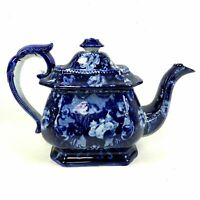 Antique Early 1800's Blue Staffordshire Teapot With Flower Decoration