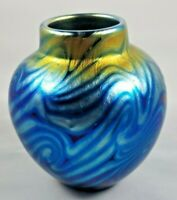 LUNDBERG STUDIOS IRIDESCENT ART GLASS MINIATURE VASE SIGNED, NUMBERED CIRCA 2000