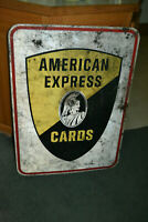 Vtg American Express Cards Double Sided Steel Sign Stout USA