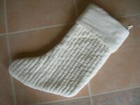 NEW Pottery Barn Velvet Channel IVORY Christmas STOCKING NWT no monogram quilted