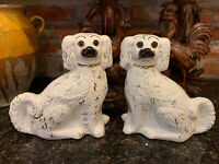 PAIR Antique English Staffordshire Dog Spaniel Pottery Glass Eyes White Gold
