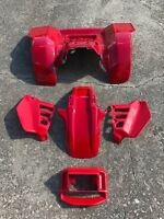 HONDA ATC250R SIDE COVER HEADLIGHT FRONT & REAR FENDER SET 86  RED ATV12SET
