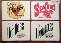 4 Vintage Repro/Retro Restaurant Corkboard Signs Seafood Dogs Burgers Chicken