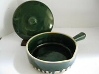 Vintage French Terra Cotta  Pottery Covered Casserole Handle Glazed France 2L
