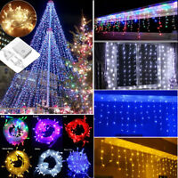US Connectable LED Curtain Icicle String Fairy Hanging Light Xmas Wedding Party