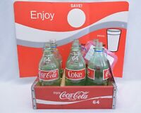 6 Coca-Cola 64 oz Glass Bottles in Wooden Case