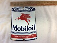 Vintage Mobiloil Oil Porcelain Gas and Oil Can Plate