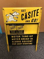 Vintage Casite Can Display Rack Donkey Gas Station Oil With 2 Cans