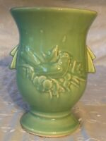 Vintage McCoy Rose GREEN Cardinal Song Bird & Holly Berry Vase SIGNED 1940s 🌼