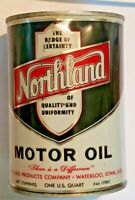 Vintage NORTHLAND Motor Oil WATERLOO IOWA ONE Quart Gas Station Advertising Can