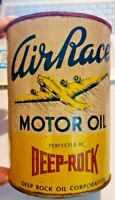 Vintage FULL ONE  Quart Deep Rock Air Race Premium Oil Can Airplane Gas Station!