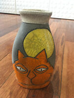 Billy Ray Mangham Contemporary  Ceramic Vase w/ Cat & Moon Decoration