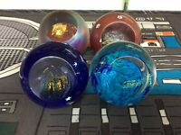 GES Glass Eye Studio Celestial Series Paperweight Lot Of 4 Small Blemishes Pics!