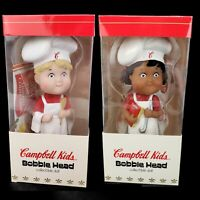 Vintage Lot 2 Campbell Kids Chef Cook Bobble Head Doll Original Package