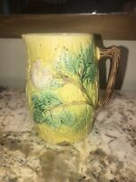 "Majolica Floral Yellow Pitcher Vase Green Pink Brown 6 3/8"" Tall EUC"