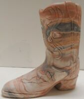 xlf13 COMANCHE POTTERY MULTICOLOR SWIRL CLAY COWBOY BOOT FIGURINE PLANTER