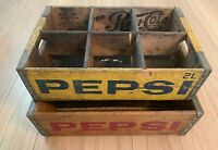 2 Distressed Wood Vintage Coca Cola Coke Case Carrying Crate Soda Pop Wooden