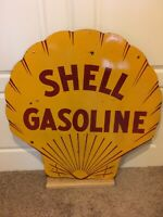 """Original 42"""" 1929 Double Sided Porcelain Shell Gasoline Sign Motor Oil Can"""