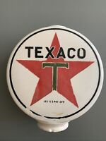 Rare One Piece Etched Chimney Milk glass Texaco Gas Pump Globe Original Paint
