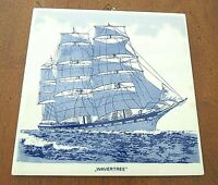 "Vintage Wavertree Ship Delft Blue Holland Hand Painted 6"" Ceramic Tile Nautical"